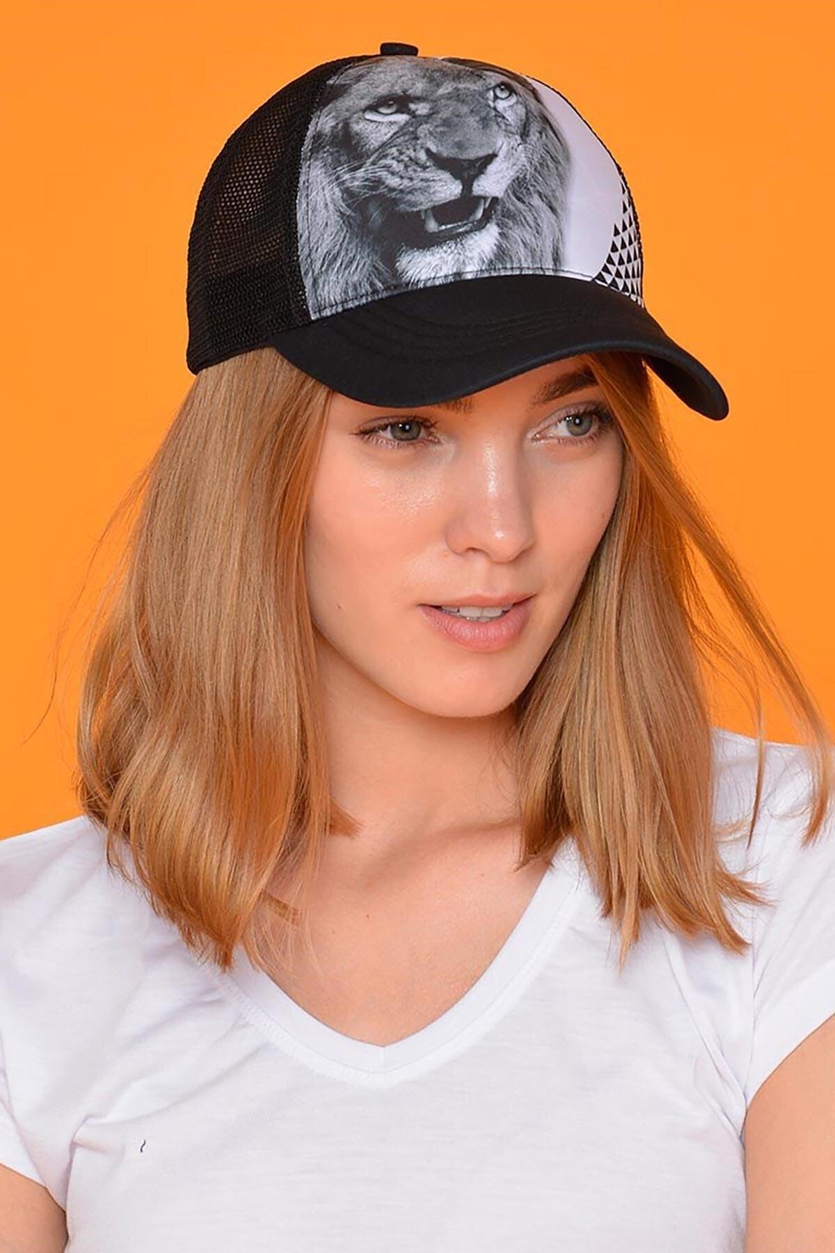 Mossta Unisex Siyah Aslan Figürlü Şapka 2