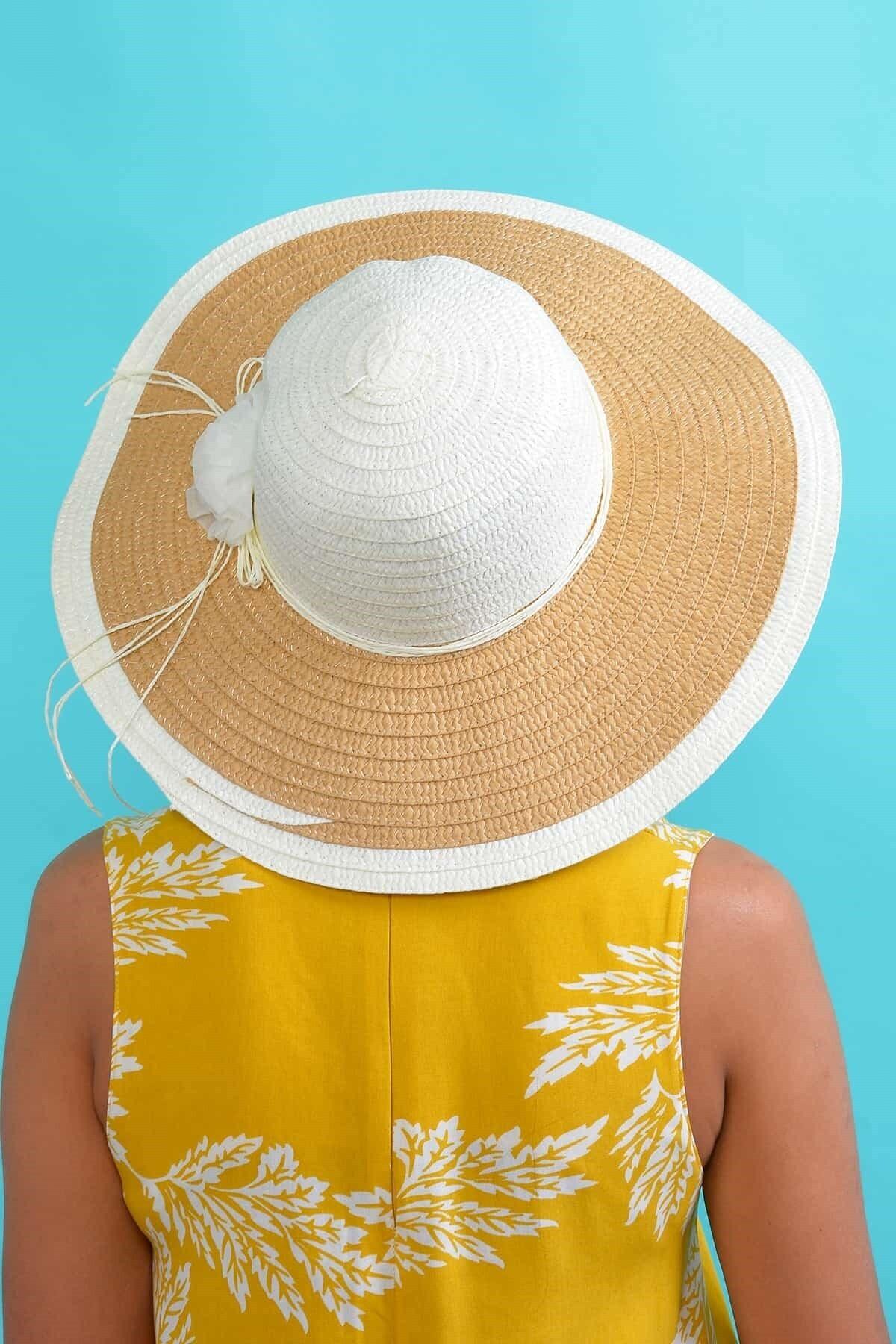 Mossta Kadın Ekru Çiçekli Hasır Şapka 1