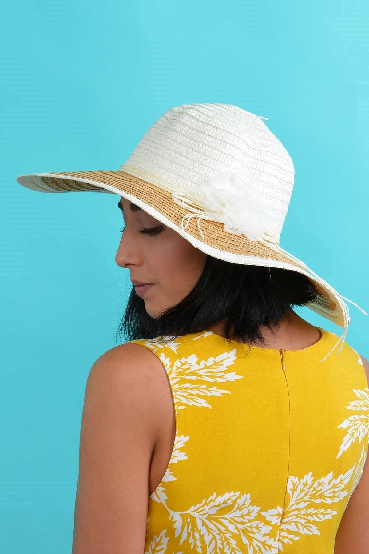 Mossta Kadın Ekru Çiçekli Hasır Şapka 2