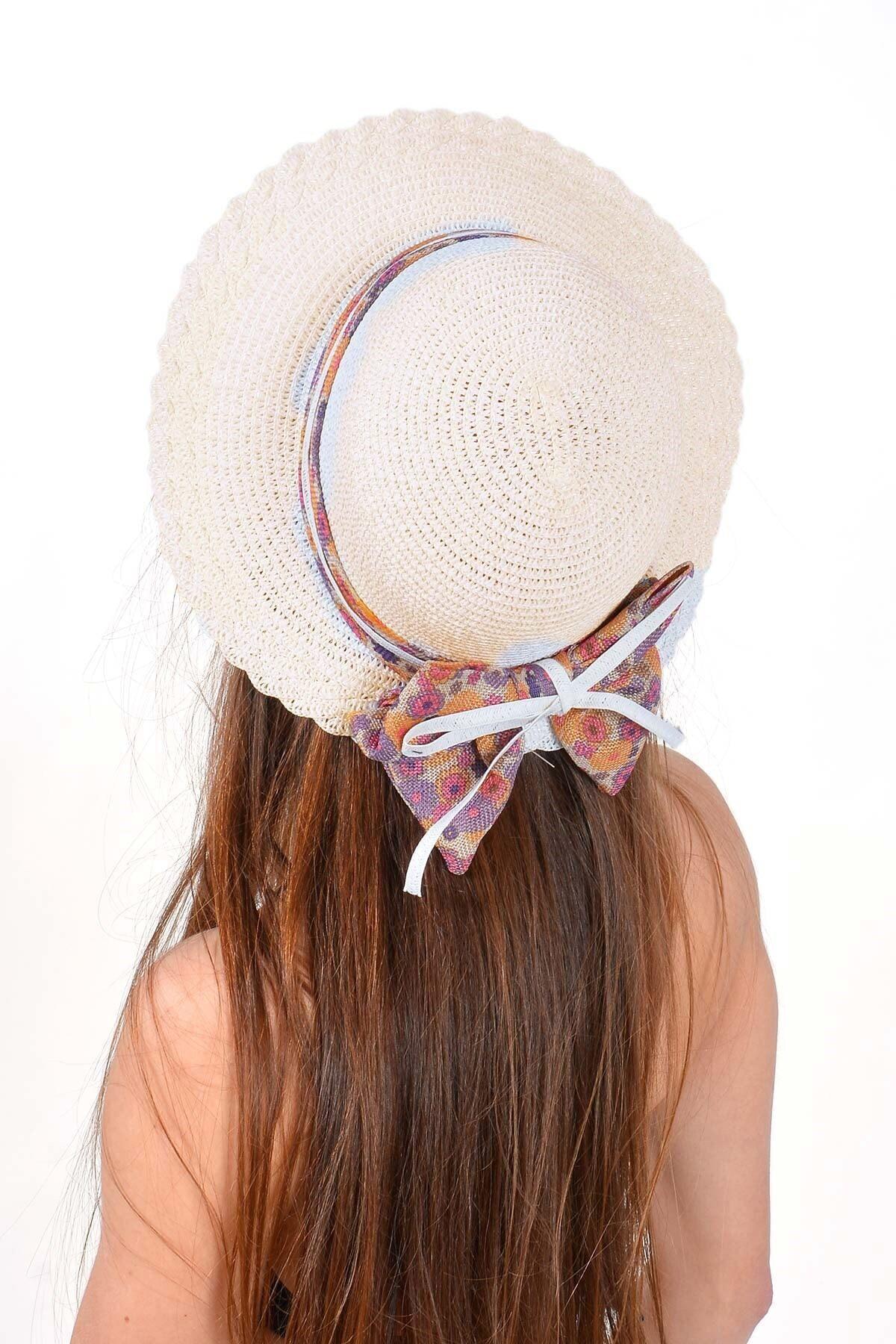 Mossta Kadın Bej Çiçek Detay Hasır Şapka 2