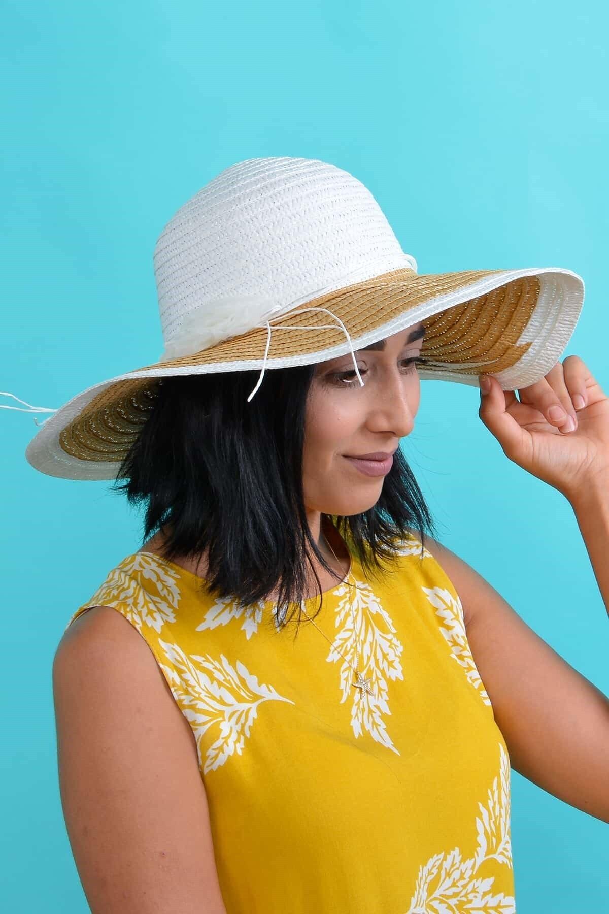 Mossta Kadın Beyaz Çiçekli Hasır Şapka 1