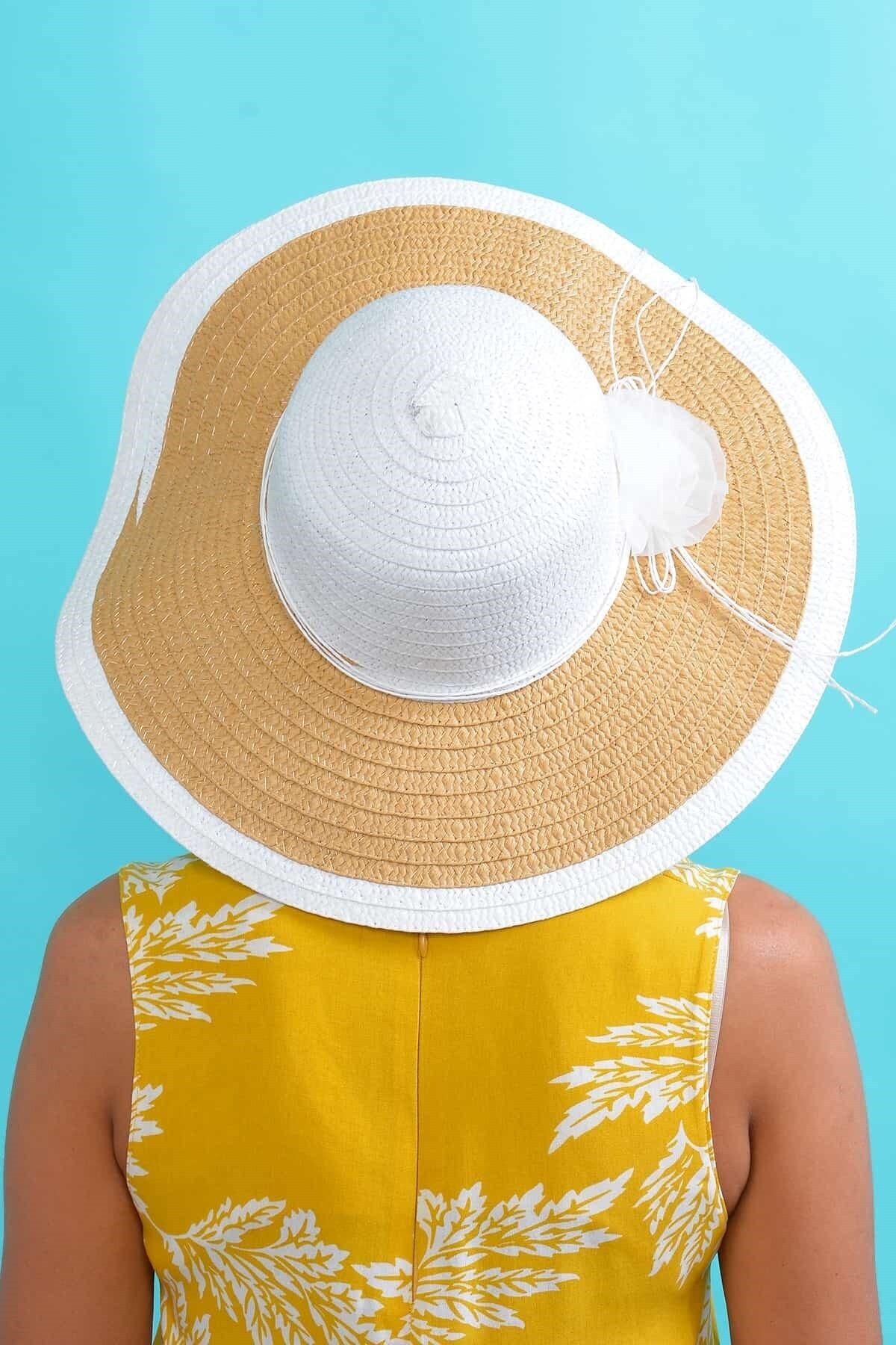 Mossta Kadın Beyaz Çiçekli Hasır Şapka 2