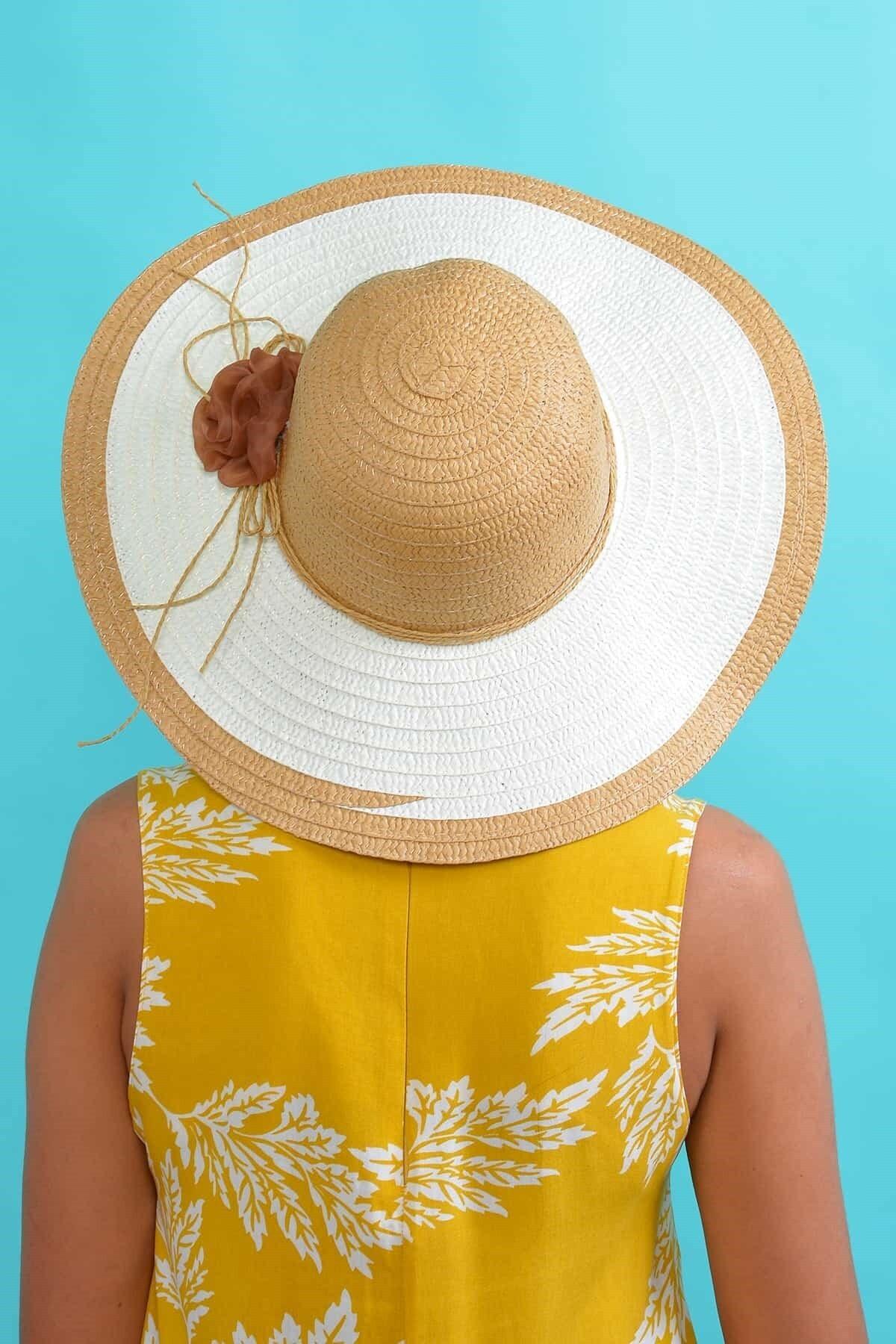 Mossta Kadın Bej Çiçekli Hasır Şapka 2