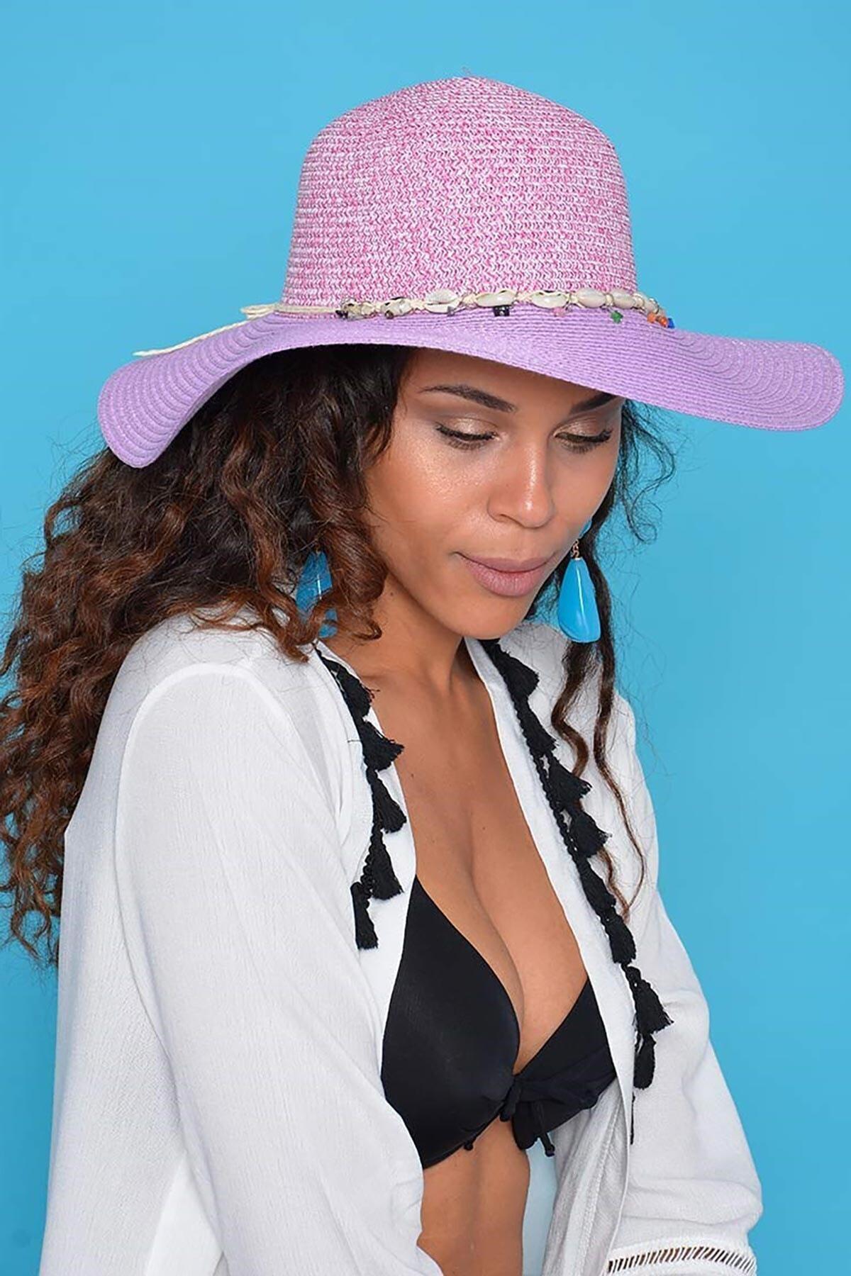 Mossta Kadın Mor Hasır Şapka 1
