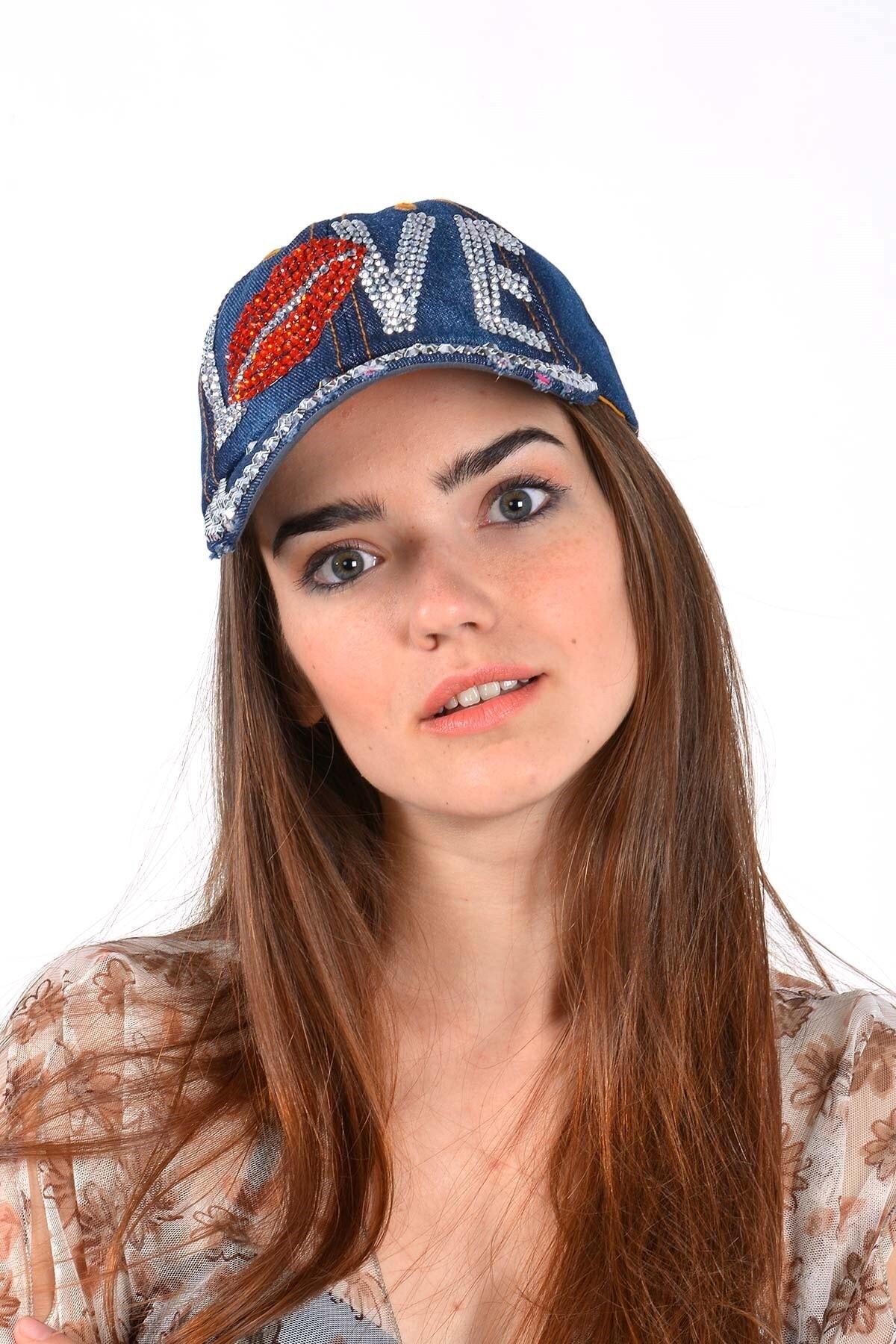 Mossta Kadın Lacivert Love Taşlı  Kot Şapka 1