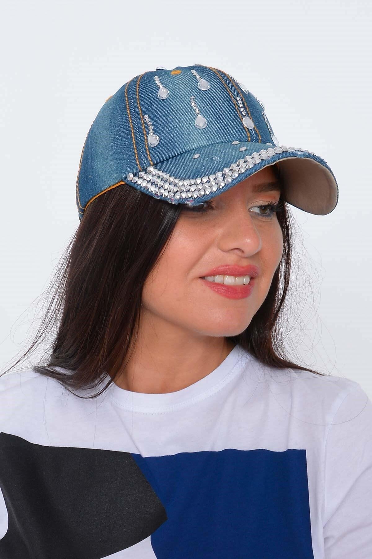 Mossta Kadın Koyu Mavi Damla Taşlı Kot Şapka 1