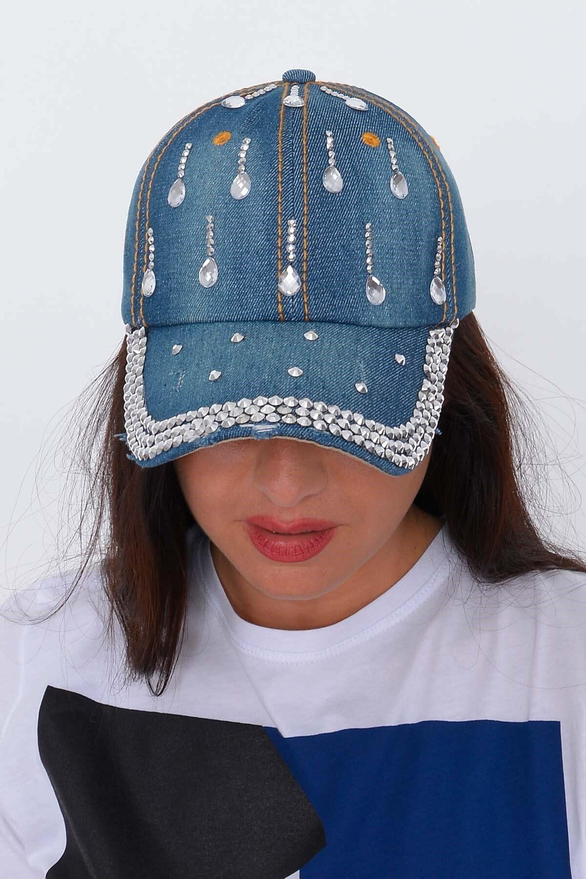 Mossta Kadın Koyu Mavi Damla Taşlı Kot Şapka 2