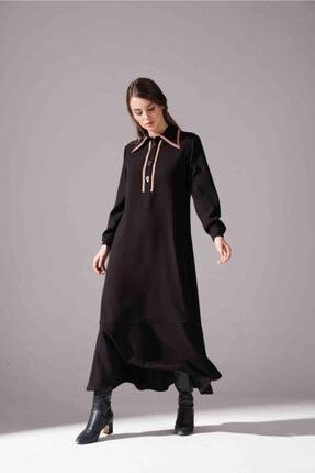 Mizalle Kadın Siyah Biyeli Krep Elbise