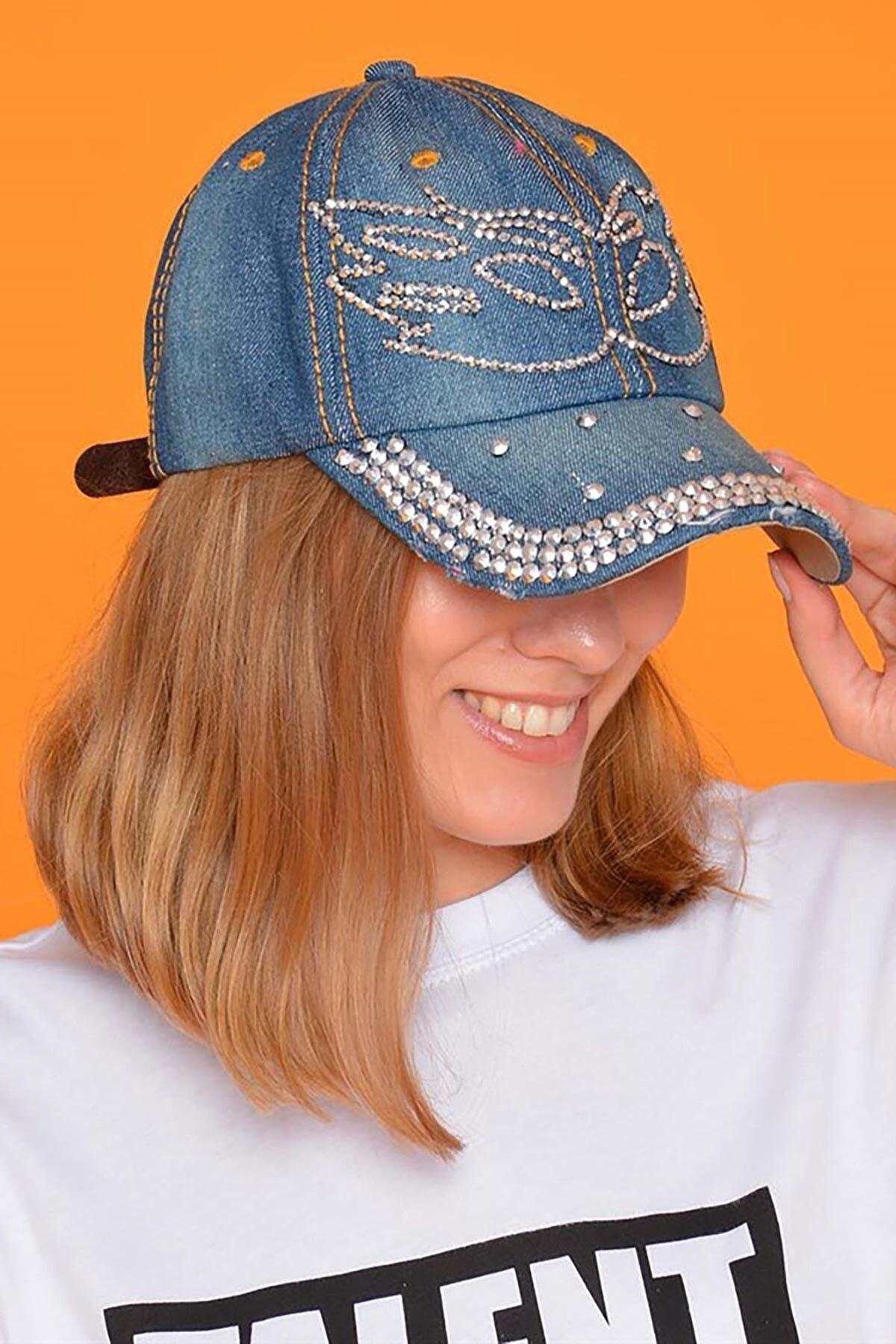 Mossta Kadın Lacivert Maske Taşlı Kot Şapka 2