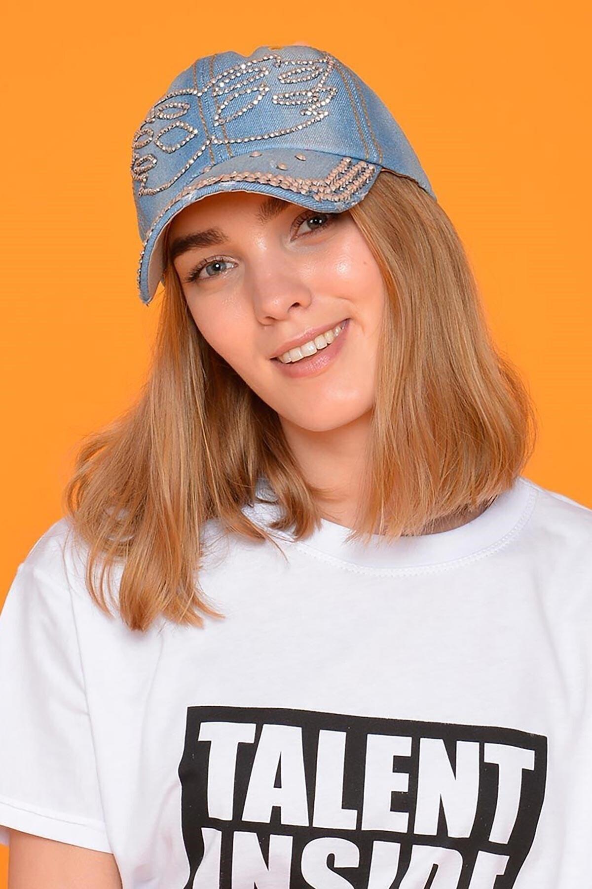 Mossta Kadın Mavi Maske Taşlı Kot Şapka 1
