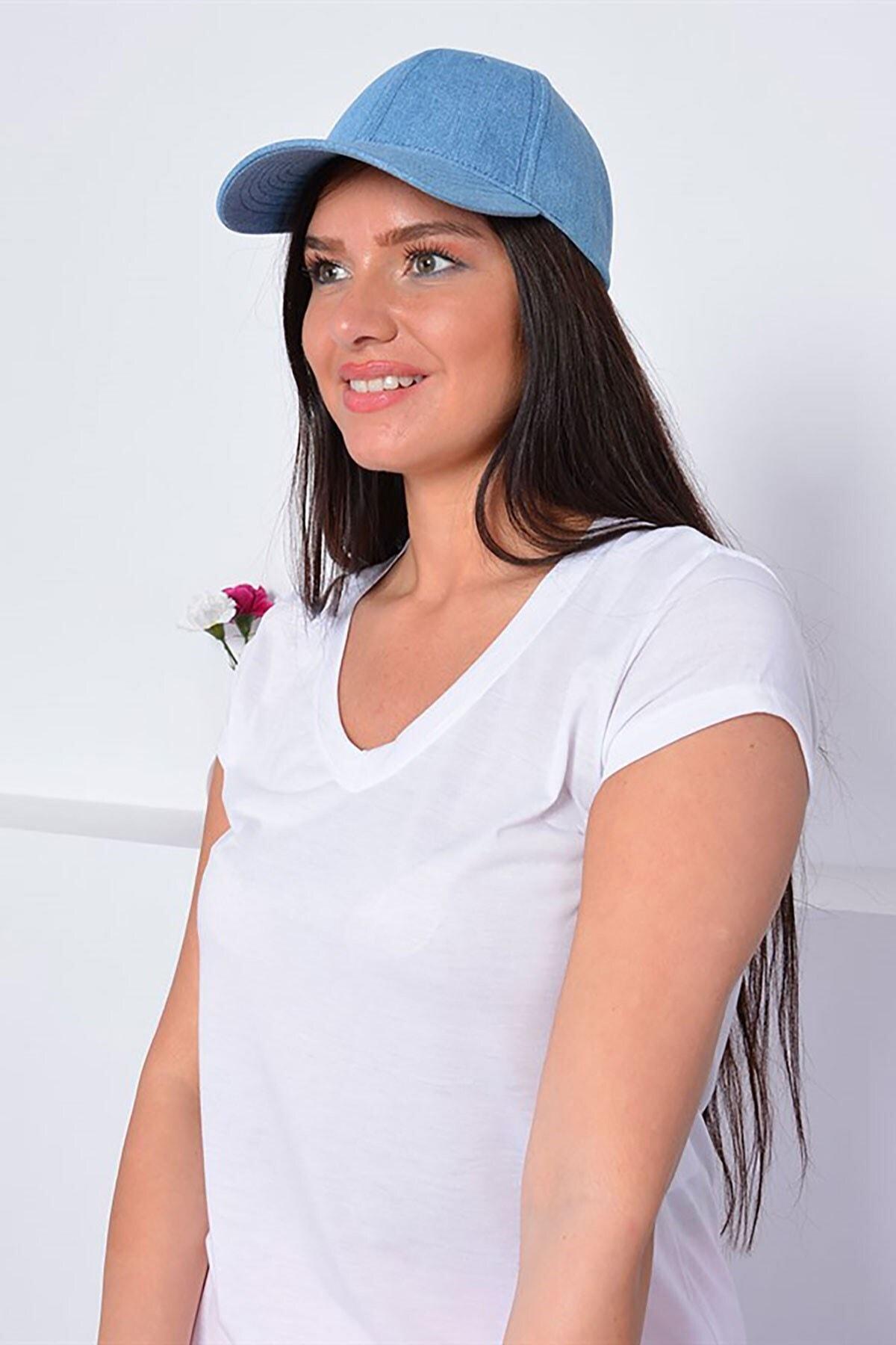 Mossta Unisex Düz Mavi Kot Şapka Kep 1