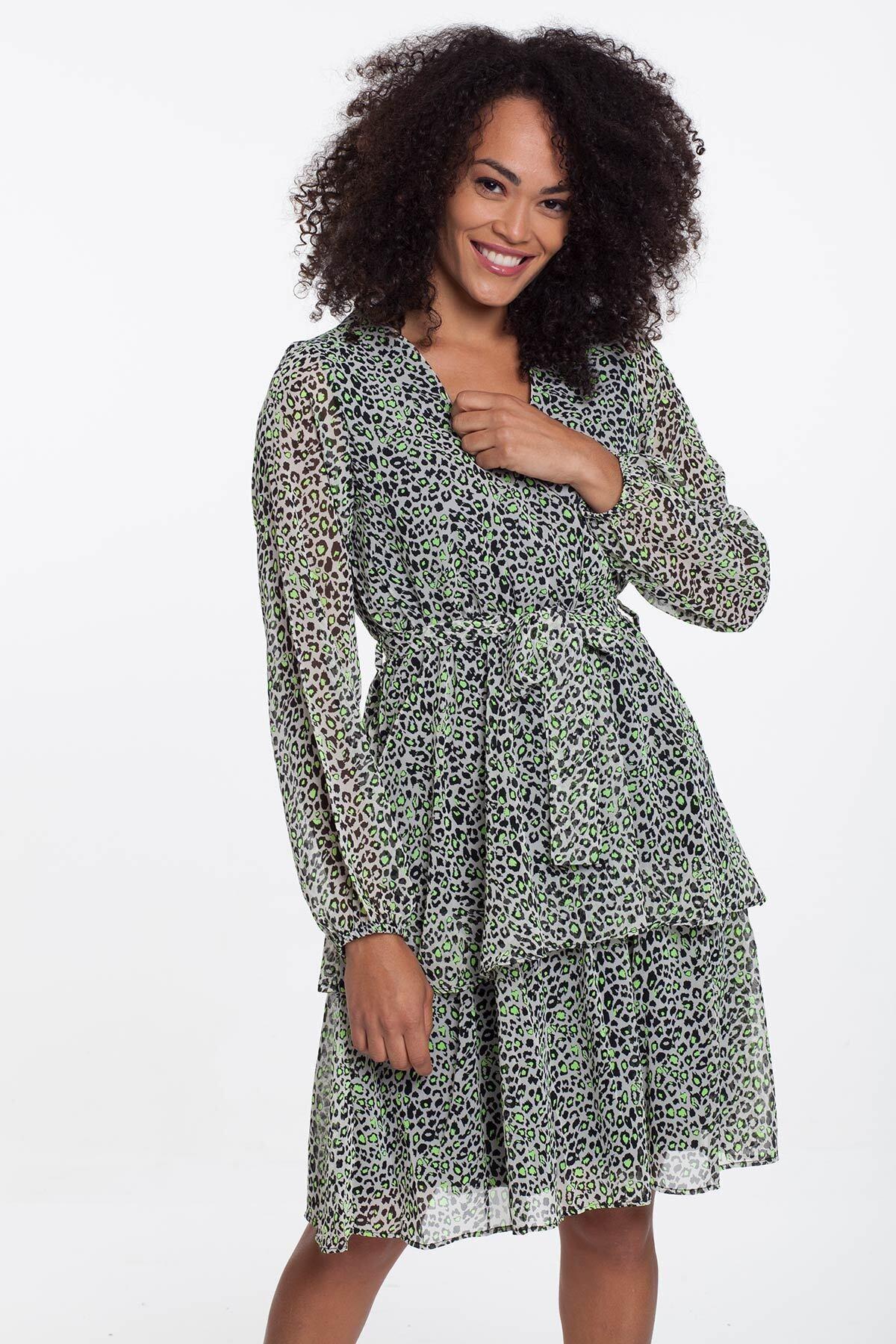 Mossta Kadın Bej Leopar Astarlı Şifon Elbise 1