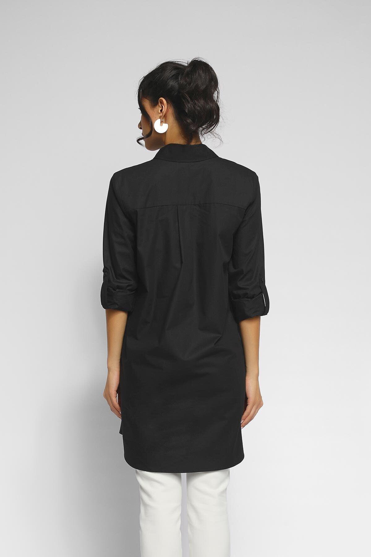 Happysoul Kadın Siyah Tunik  Gömlek 2