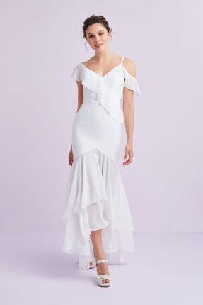 Oleg Cassini Kadın Beyaz Askılı Önü Kısa Arkası Uzun Şifon Nikah Elbisesi