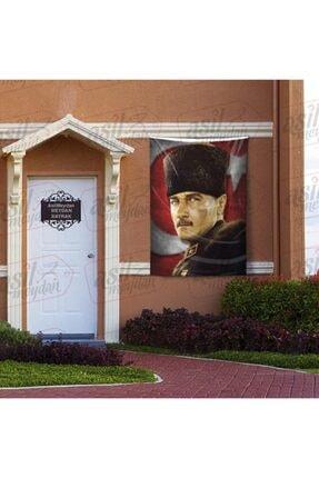 Asilmeydan Mavi Gözlü Kalpaklı Gazi Mustafa Kemal Atatürk - Ay Yıldız Türk Bayrağı Poster Bayrak 100x150 Cm