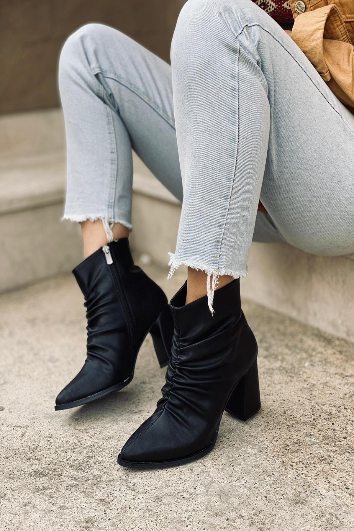 Mida Shoes Siyah Cilt Büzgülü Fermuarlı Bot 1