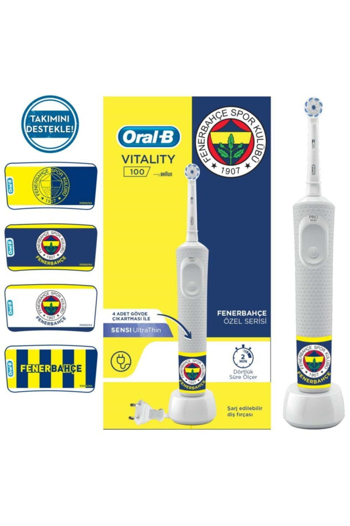 Oral-B D100 Şarjlı Fırça Fenerbahçe Taraftar Paketi 1