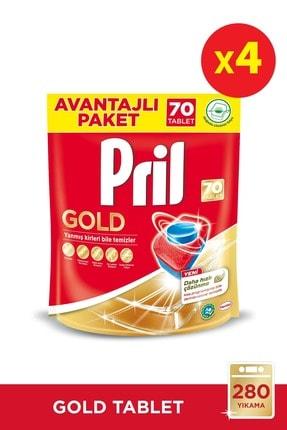 Pril Gold Bulaşık Makinesi Deterjanı, 70 Tablet 4'lü Paket