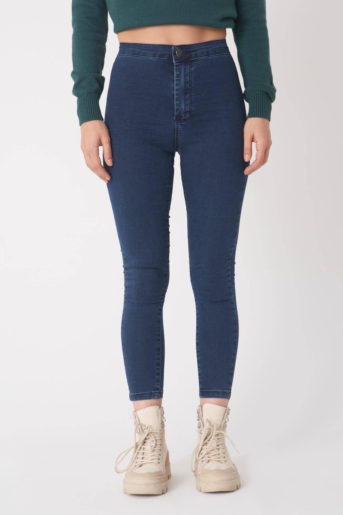 Addax Kadın Koyu Laci Yüksek Bel Pantolon Pn10915 - G8 - Pnn Adx-0000013630 1