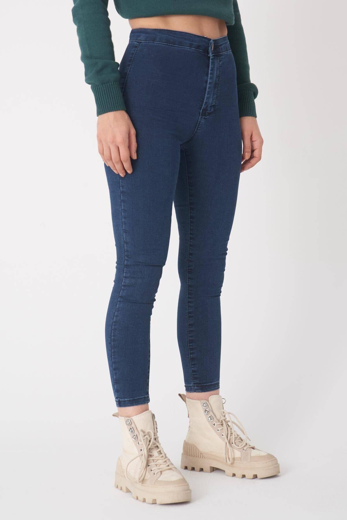 Addax Kadın Koyu Laci Yüksek Bel Pantolon Pn10915 - G8 - Pnn Adx-0000013630 2
