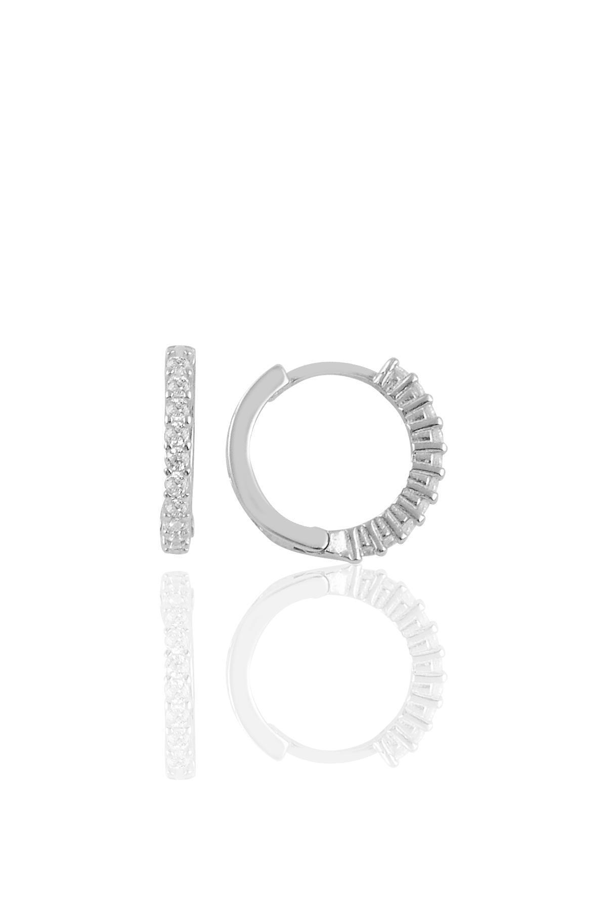 Söğütlü Silver Gümüş Rodyumlu Sıra Taşlı Halka Küpe