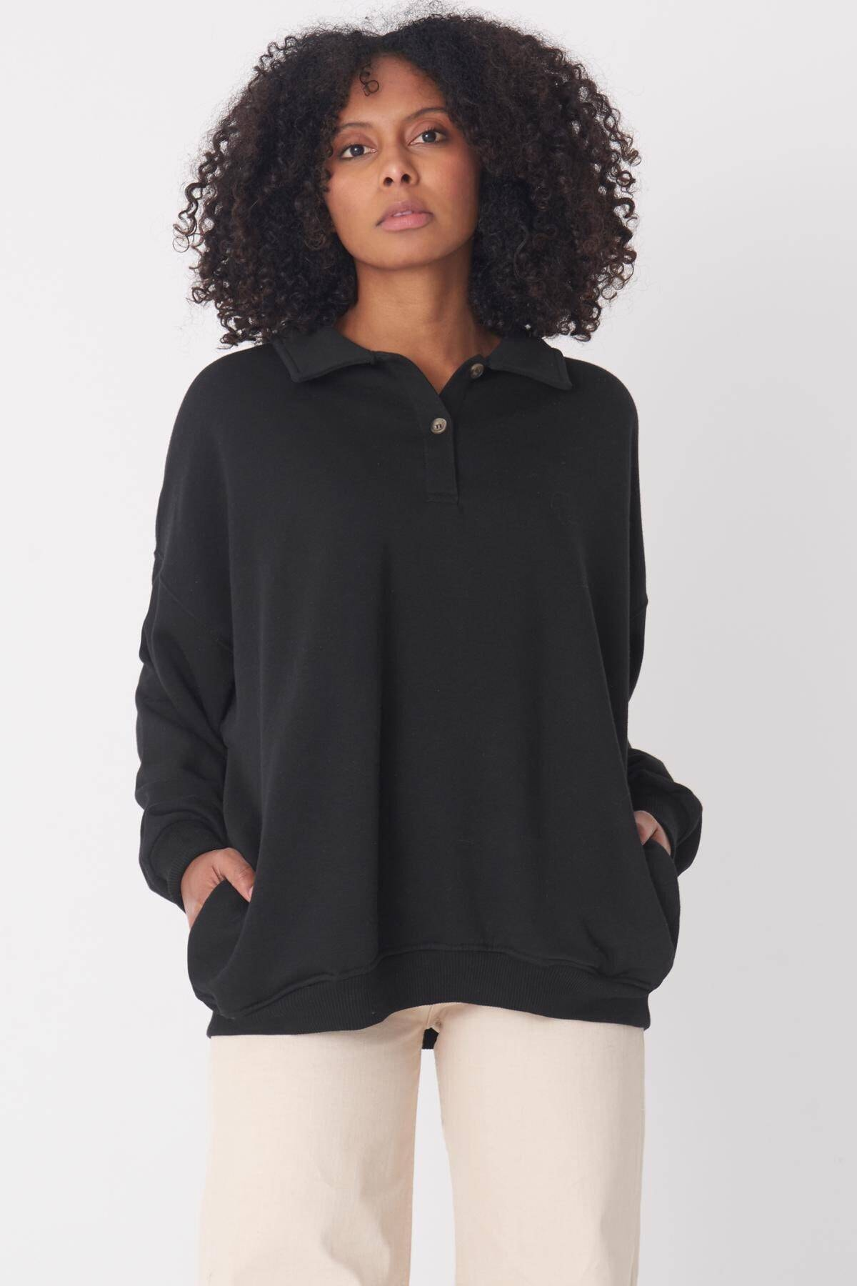 Addax Kadın Siyah Gömlek Yaka Sweat S0703 - C13 1