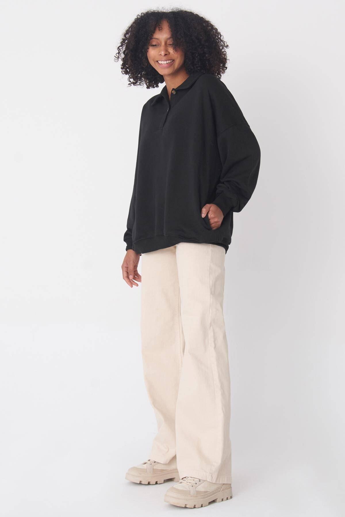Addax Kadın Siyah Gömlek Yaka Sweat S0703 - C13 2
