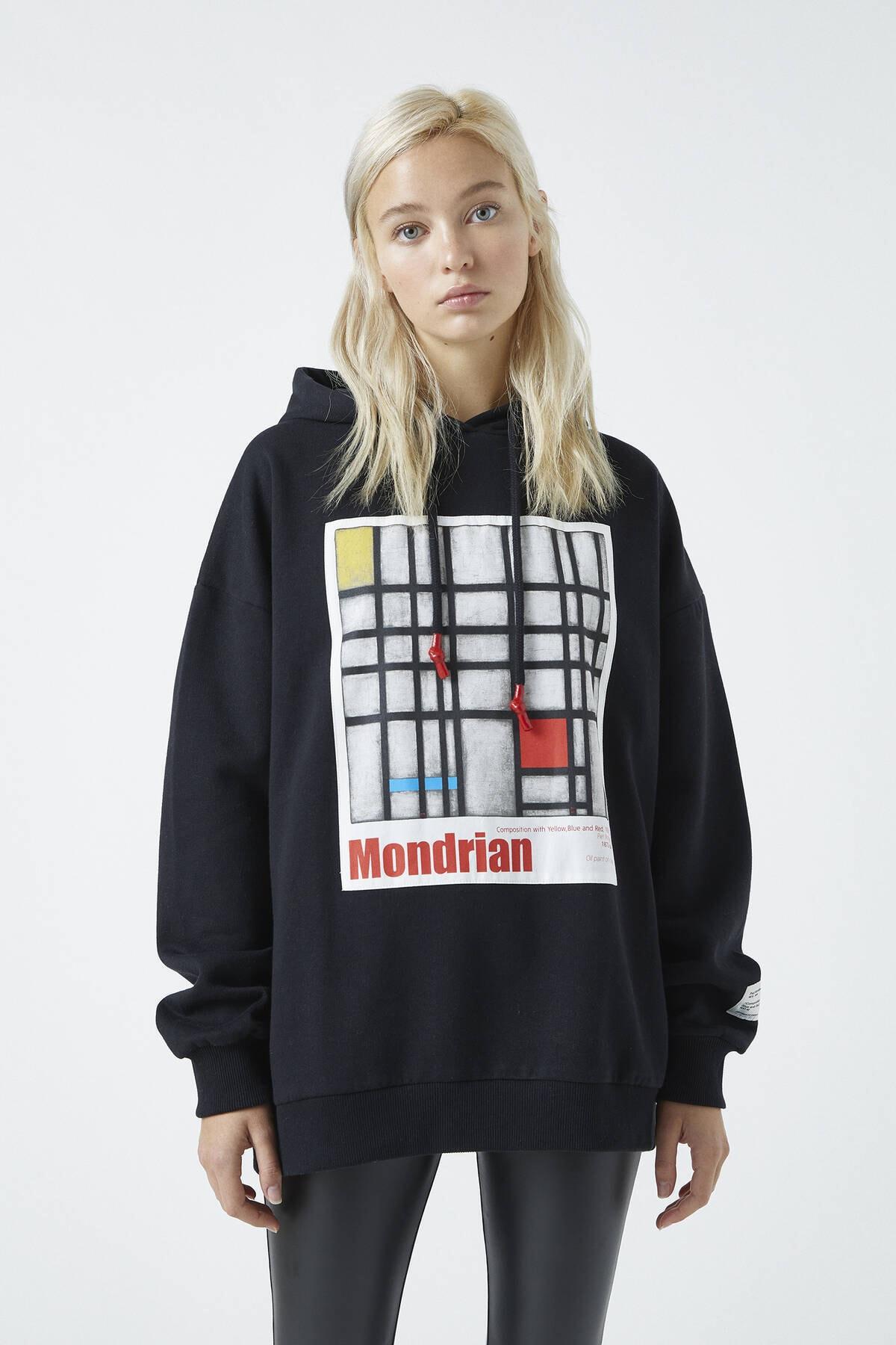 Pull & Bear Kadın Siyah Tate Art Collection Mondrian Görselli Kapüşonlu Sweatshirt 04591304