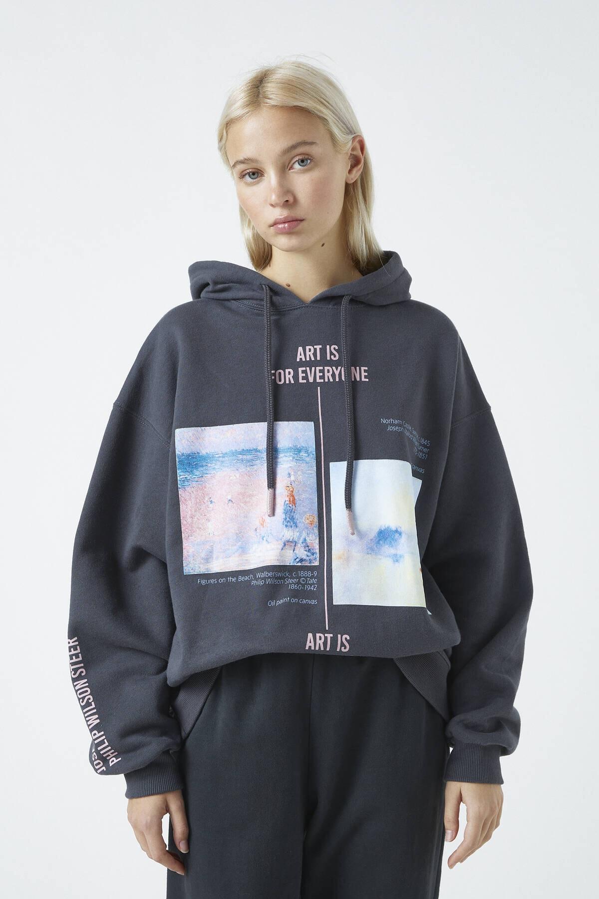 Pull & Bear Kadın Antrasit Gri Tate Art Collection Turner Ve Steer Görselli Kapüşonlu Sweatshirt 04591302