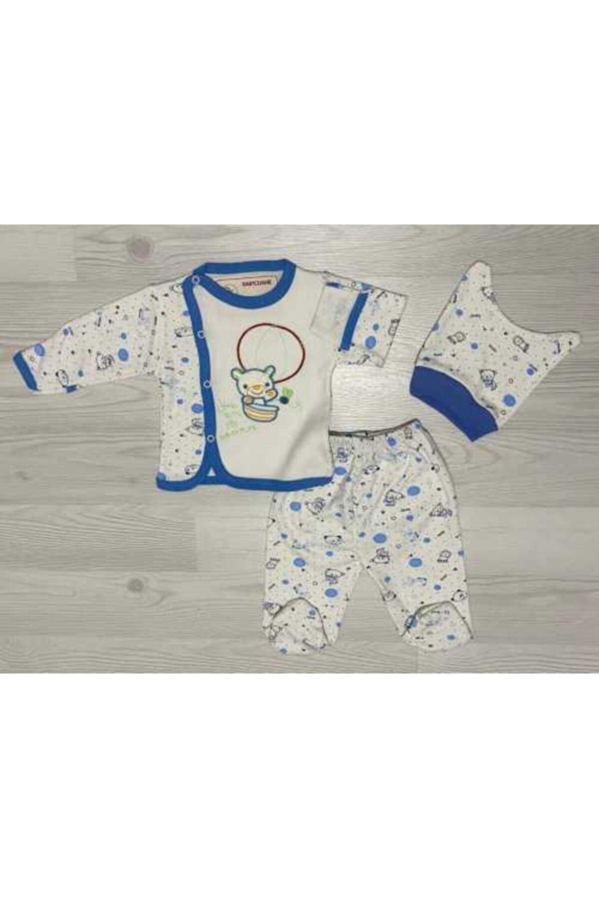BabyCleane Erkek Bebek Mavi Nakışlı 3'lü Zıbın Takım 1