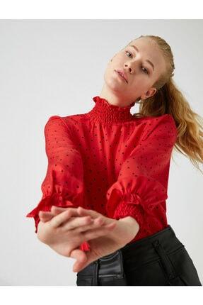Koton Kadın Kırmızı Balikçi Yaka Uzun Kollu Puantiyeli Bluz