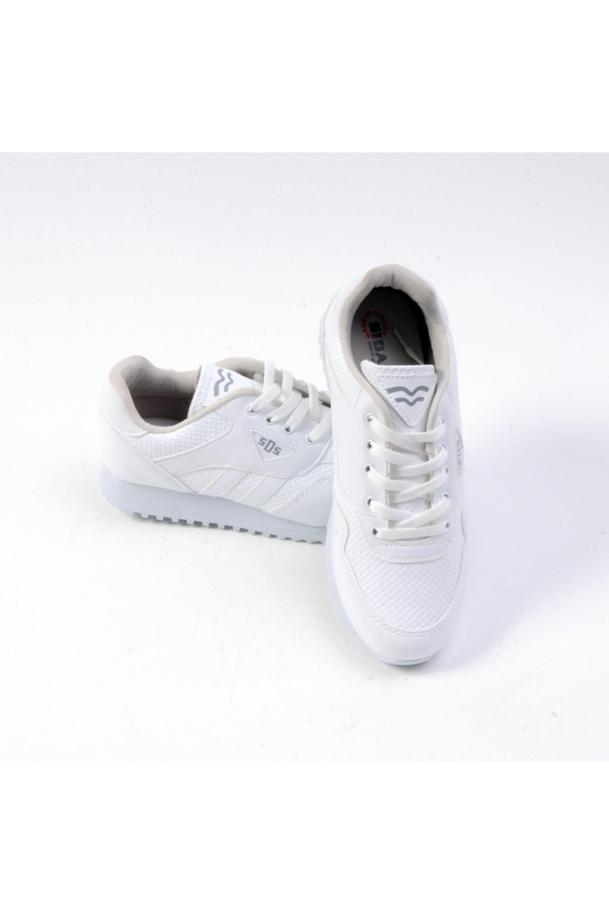 Sidasa Unisex Bağlı Beyaz Cilt Spor Ayakkabı 361-g 1