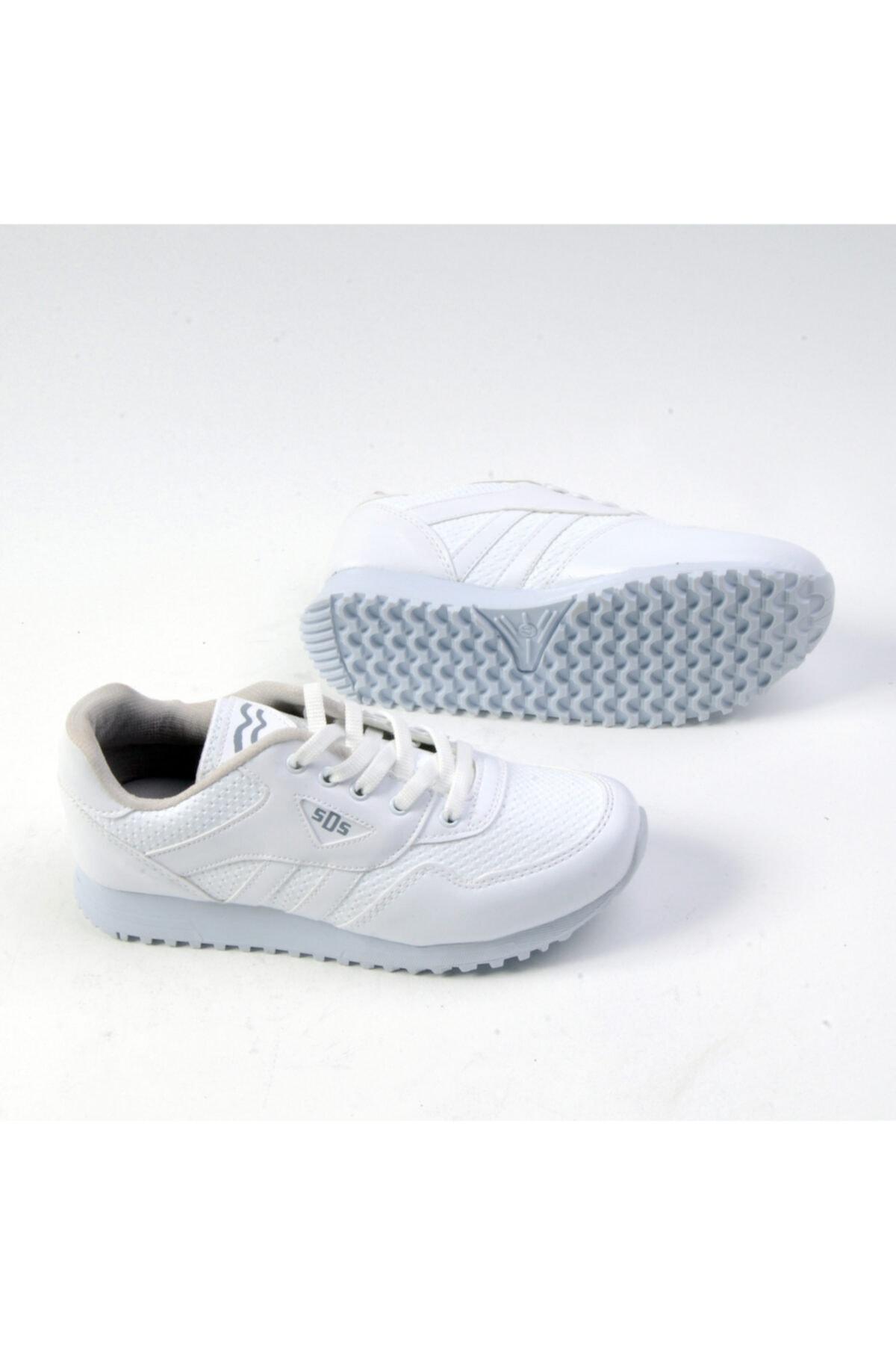 Sidasa Unisex Bağlı Beyaz Cilt Spor Ayakkabı 361-g 2