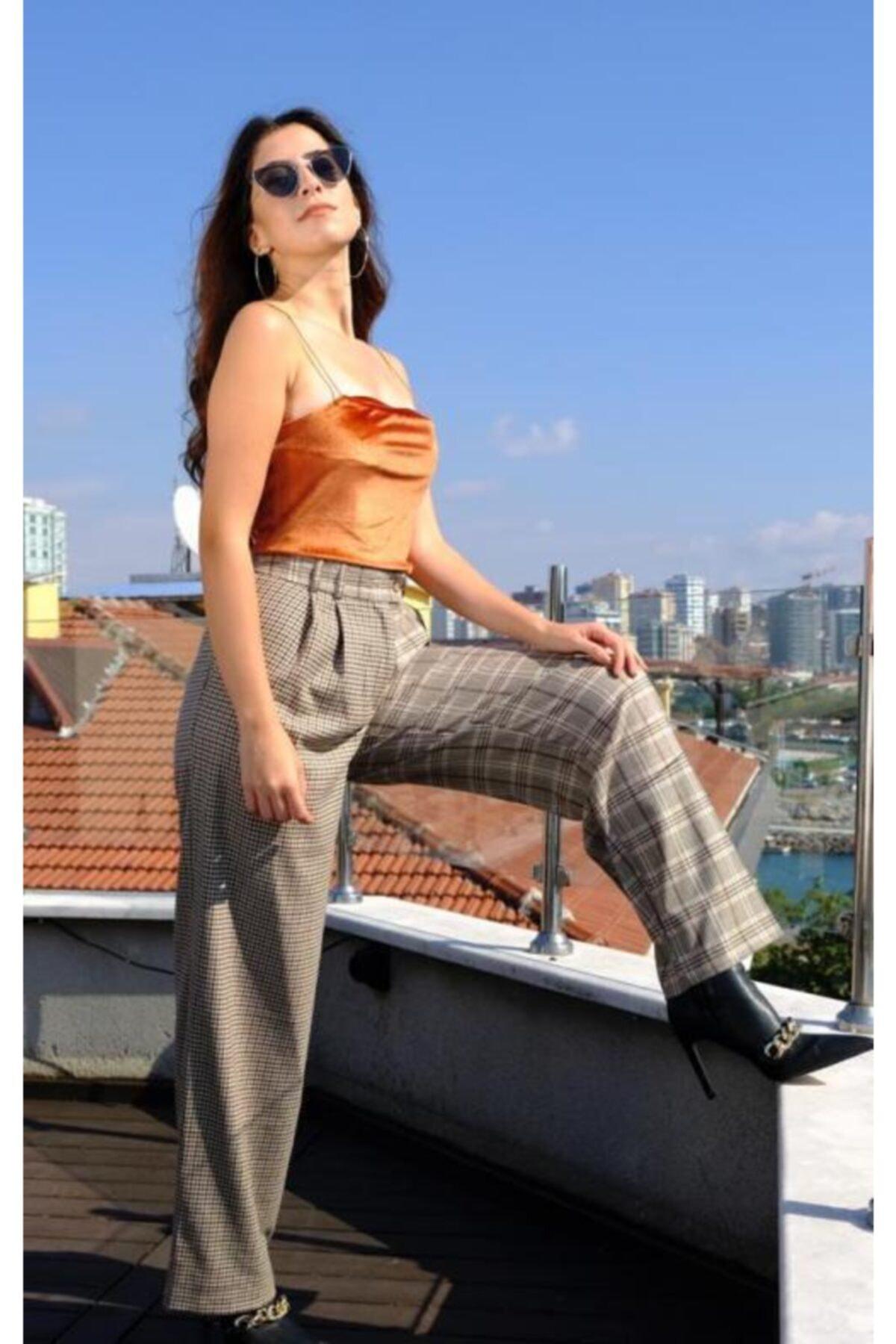 BSL Kadın Bej Plaid Çift Kumaş Pantolon 1
