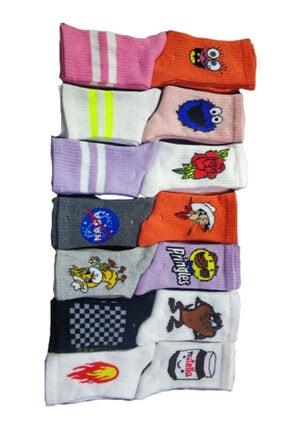 SOYTEMİZ ÇORAP Unisex Farklı Desen Desen Kolej Çorabı 12 Çift