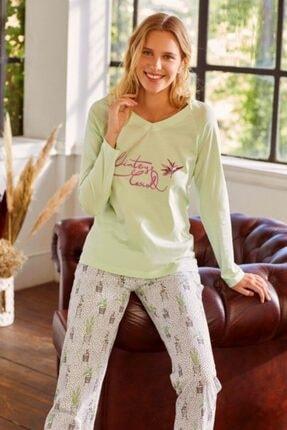Eros Kadın Yeşil Kaktüs Çiçeği V Yaka Pijama Takım