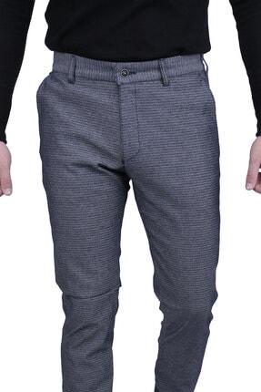 Canelia Erkek Lacivert Örme Desenli Yan Cep Dar Kesim Pantolon