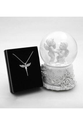 Trendmiya Romantik Sevgili Orta Boy Melekler Işıklı Kar Küresi & Gümüş Kaplama Melek Kolye