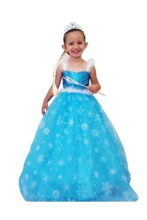 DEHAMODA Kız Çocuk Mavi Askılı Tarlatanlı Mavi Elsa Frozen Karlar Ülkesi Elbise
