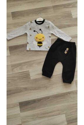 Crazy Baby Unisex Bebek Siyah Gri Sevimli Arı Kabartma Oyuncaklı 2li Takım