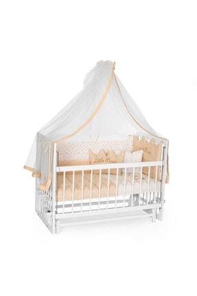 Bambidoo Beyaz 60x120 Anne Yanı Beşik Ahşap Sallanır Beşik 4 Kademeli -  Krem Prens Uyku Setli Yataklı