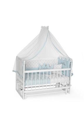 Bambidoo Beyaz 60x120 Anne Yanı Beşik Ahşap Sallanır Beşik 4 Kademeli - Mavi Nakışlı Uyku Setli Yataklı