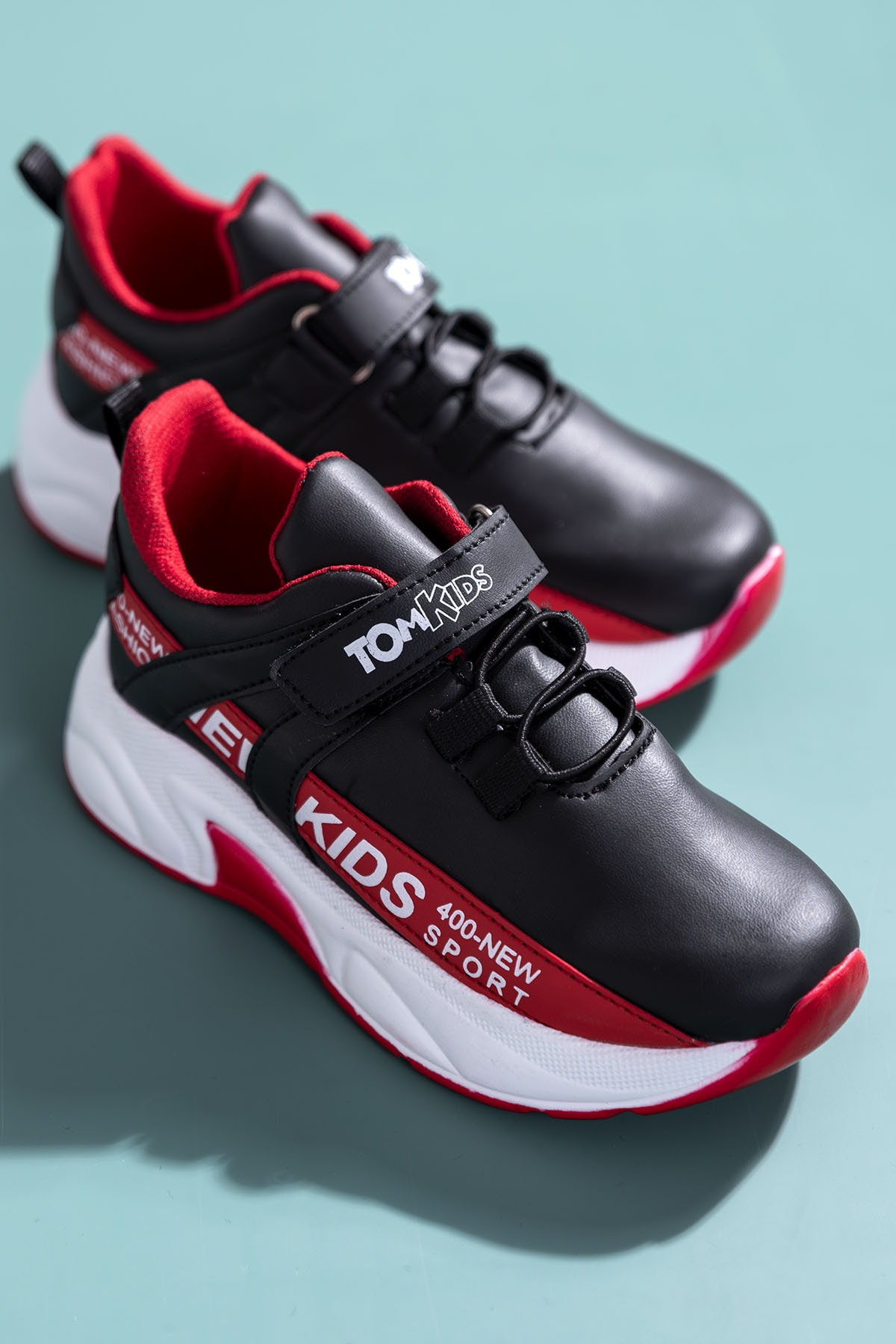 Tonny Black Siyah Kırmızı Çocuk Spor Ayakkabı Dg674