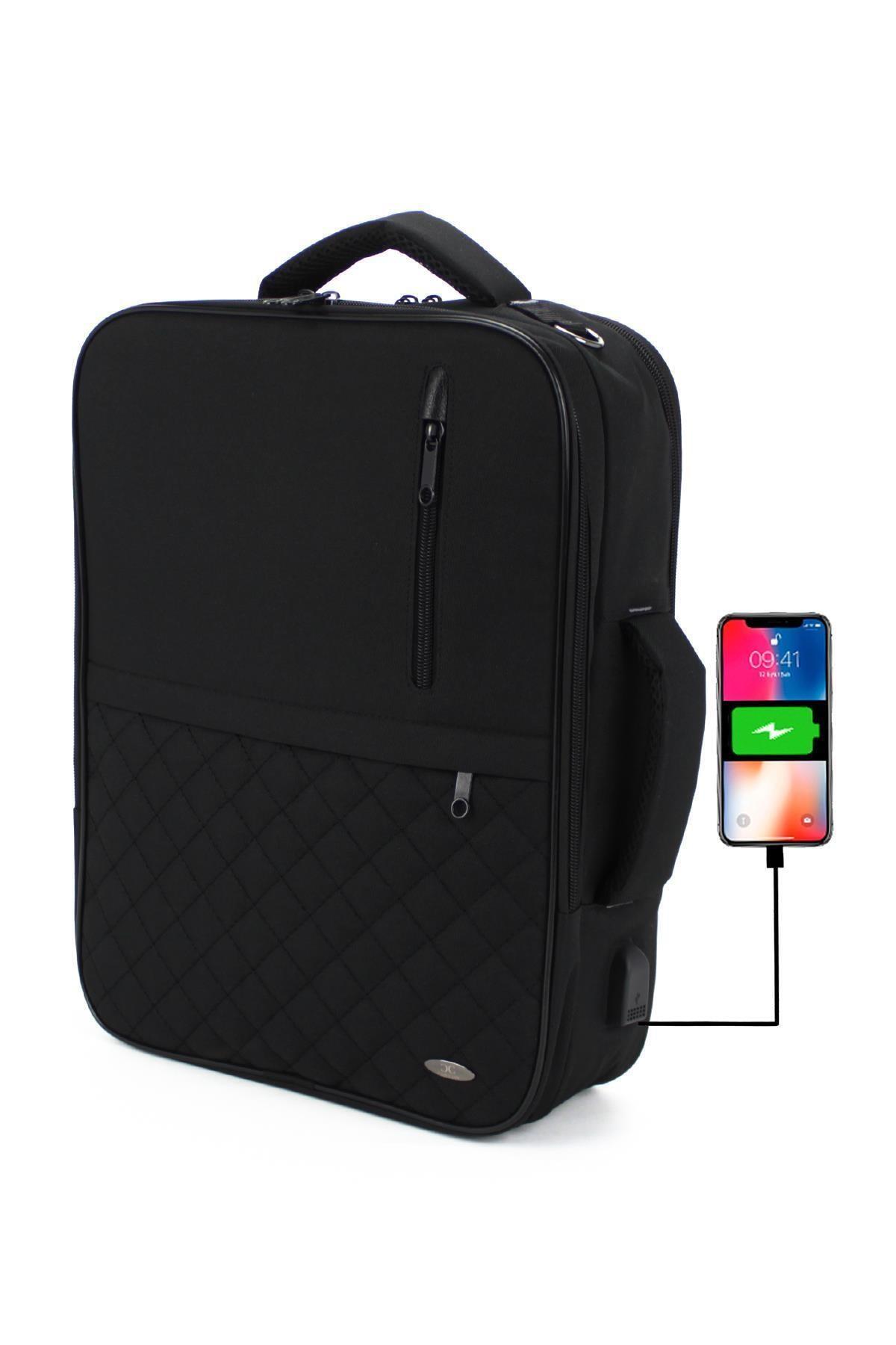 Case Club Unisex Laptop Sırt El Ve Omuz Çantası 15,6'' Usb Aparatlı Omuz Askılı Su Geçirmez Kumaş 2