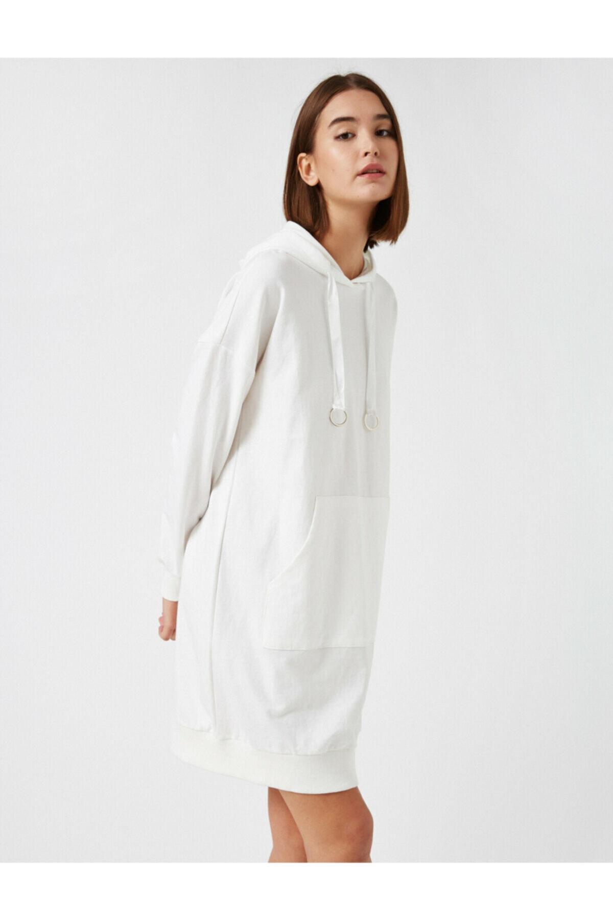 Koton Kadın Ekru Kapüsonlu Cepli Uzun Sweatshirt 1