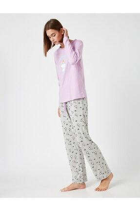 Koton Kadın Mor Pamuklu Disney Lisanslı Baskılı Pijama Takımı
