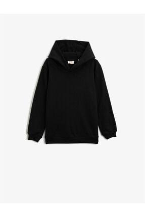 Koton Erkek Çocuk Siyah Kapüşonlu Basic Uzun Kollu Sweatshirt