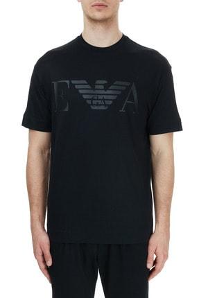 Emporio Armani Erkek Siyah Baskılı Bisiklet Yaka T-shirt 6h1th0 1jbvz 0999