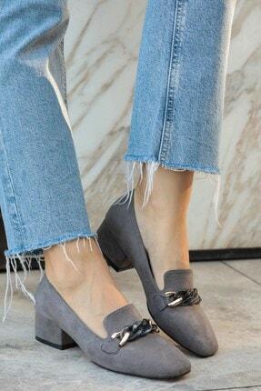 Mio Gusto Kadın  Gri Topuklu Ayakkabı