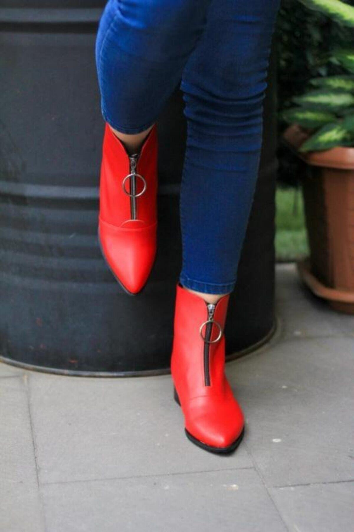 S&S Kadın Kırmızı Topuklu Bot 1